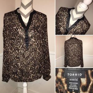 TORRID | Long sleeve leopard pullover blouse